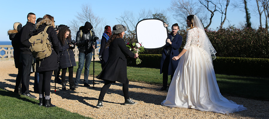 Crew photographing a wedding