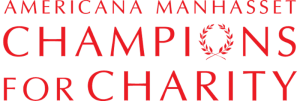 Logo for Americana Manhasset shopping mall and Champions for Charity event - all text