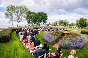 Wedding guests gathered in rose garden