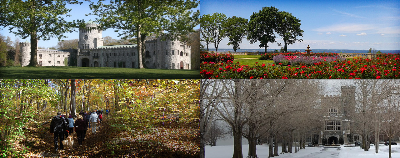 A composite of photos of the Sands Point Preserve in different seasons