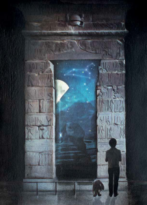 From book The Boy and The Boy King - a image of a boy standing at the entrance to an Egyptian tomb