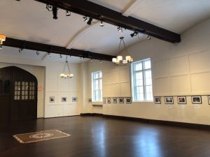 Castle Gould's Great Hall with exhibition: May We All Grow Up To Be Children