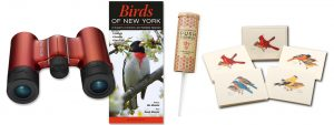 Gift Package with Birds of NY Guide, seed kit, boxed note cards with assorted birds