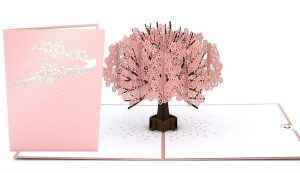 3D card with cherry tree