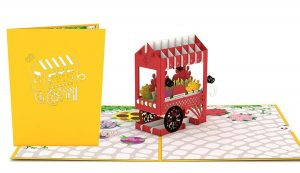 3D card with flower cart