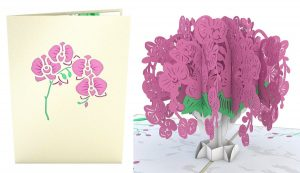 3D card with orchids