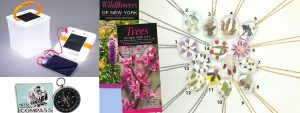 Gift package with tree and bird guides for NY, dried flower necklaces, NiKon binoculars