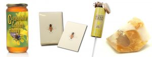 Items in Queen Bee Gift Package - honey, cards, soap, seed kit