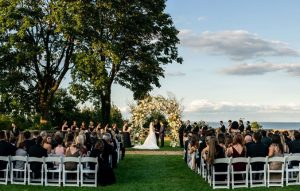 Outdoor wedding in the rose garden overlooking the long island sound