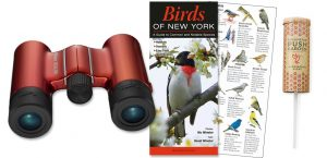 Gift with binoculars and guide for local birds