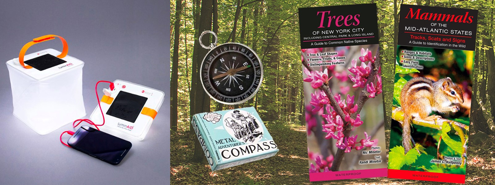 Father's Day Gift: Nature Lover with compass and guides for local trees and mammals and solar powered light and cell phone charger
