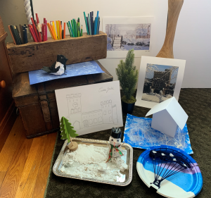 """Photo of art projects based on Monet's """"The Magpie"""""""