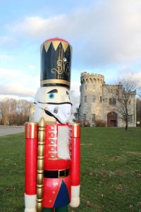 5 foot tall nutcracker with a face mask