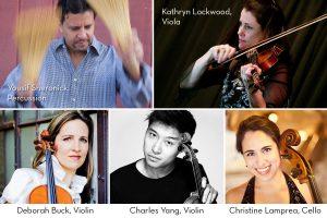 Composite of five musicians: Yousif Sheronick, Kathryn Lockwood, Charles Yang, Deborah Buck, Christine Lamprea